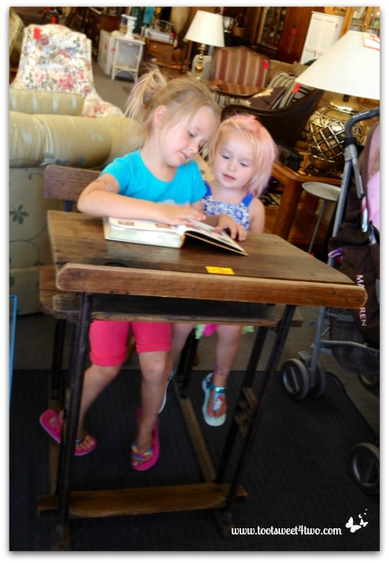 Princess P and Princess Sweetie Pie enjoying an old school desk - The Accidental Picker