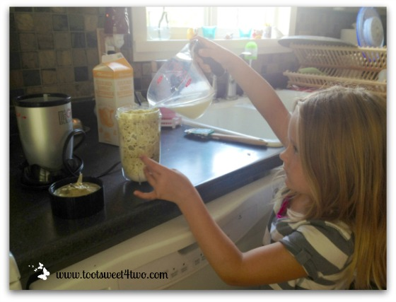 Princess P measuring ingredients - Creamy Pesto Dressing