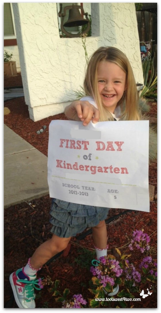 Princess P off to her first day of kindergarten