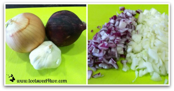 Chop onions for Spicy Crock Pot Chili