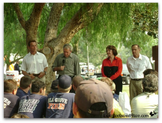 President Bush addresses the firefighters in our local park