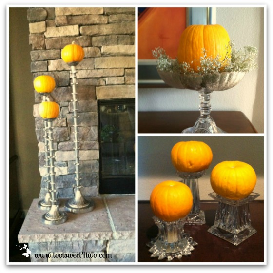 Pumpkins in candle holders