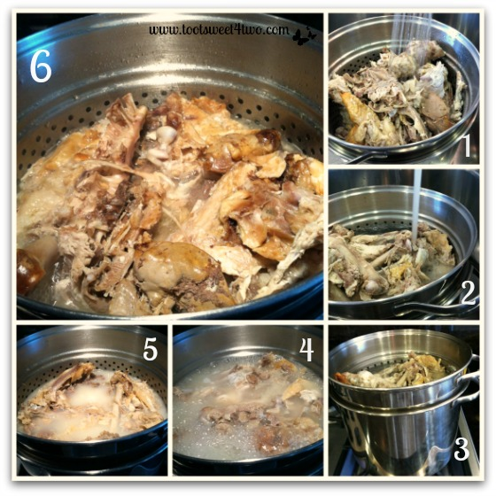 Boiling the turkey carcass for Turkey Soup