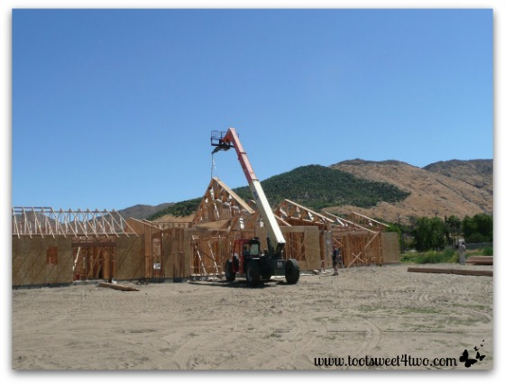 Hoisting the roof trusses into place.