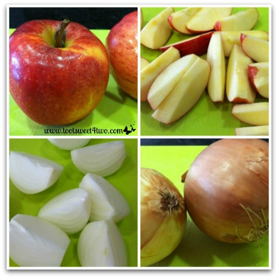 Preparing apples and onions for turkey