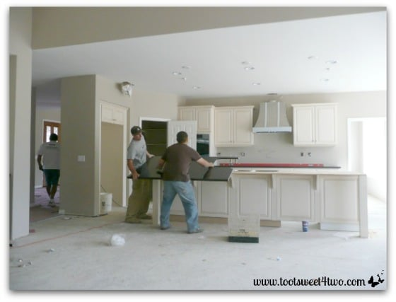 The kitchen countertop delivered and installed.