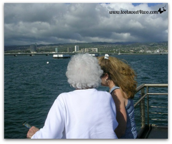 Mom and Gail on the boat to the Pearl Harbor Memorial