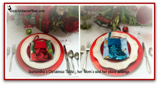 Placesettings for Samantha's Christmas Table