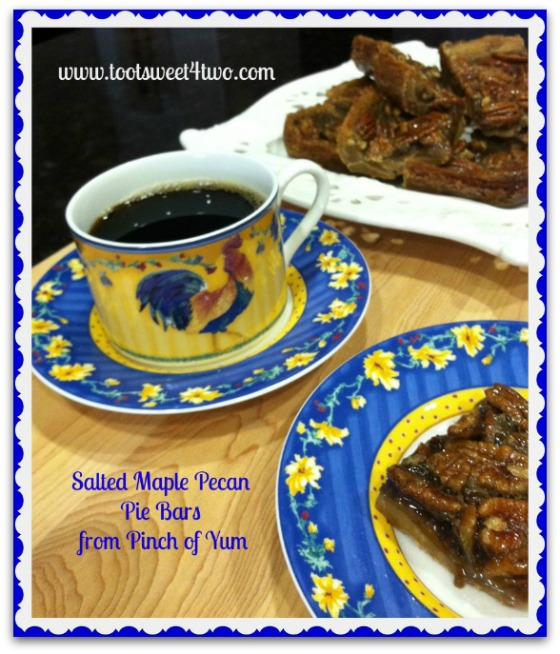 Salted Maple Pecan Pie Bars with coffee