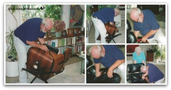 Dad fixing his Eames chair - Requiem for My Father