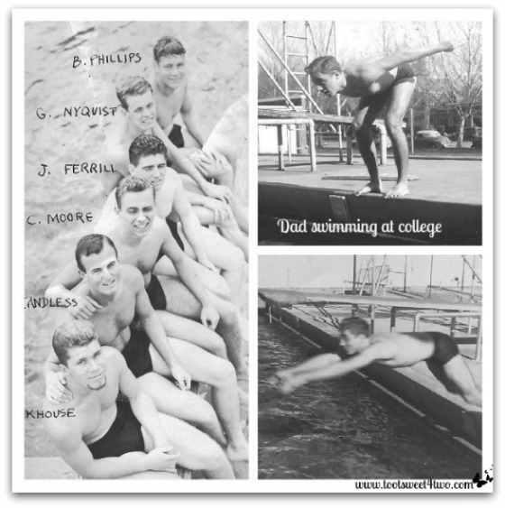 Dad swimming at college - Requiem for My Father