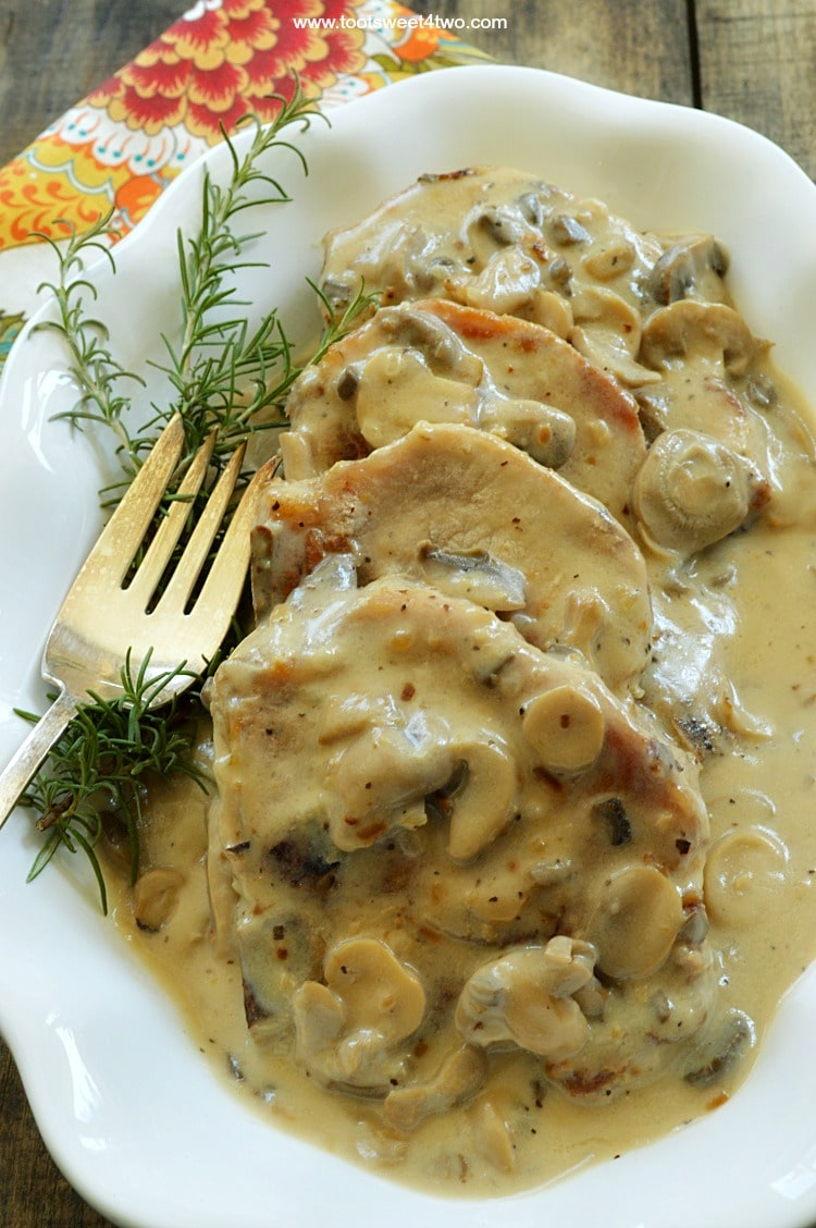 "Easy Cream of Mushroom Pork Chops is one of those ""go-to"" recipes that is quick, easy and always a success! Perfect for a busy weeknight, these pork chops take under 30 minutes to make. And, for most of that time, they are simmering, covered. So, there's nothing for you to do but make a side salad or set the table! 