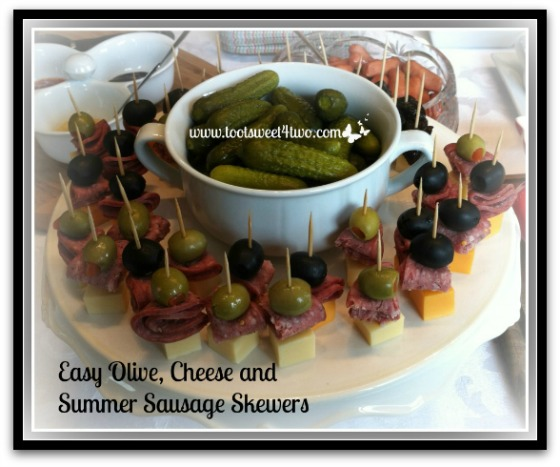 Easy Olive Cheese and Summer Sausage Skewers cover