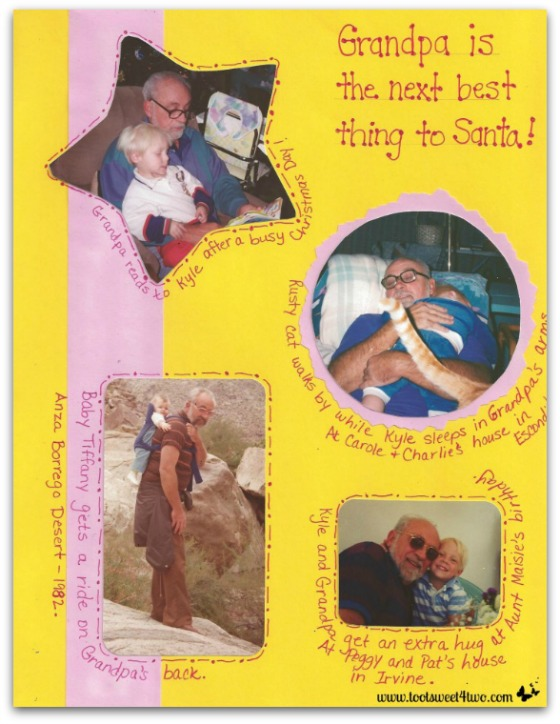 Scrapbook pages of Grandpa with Grandchildren - In the Arms of Love