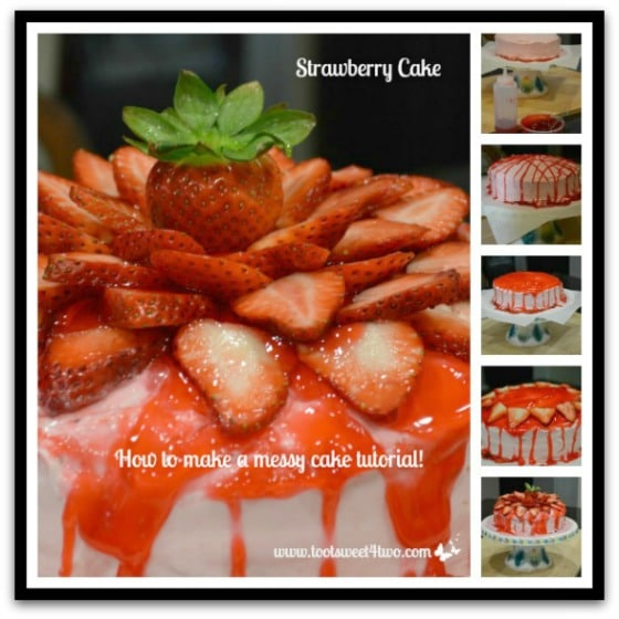 Messy Strawberry Cake with glaze collage