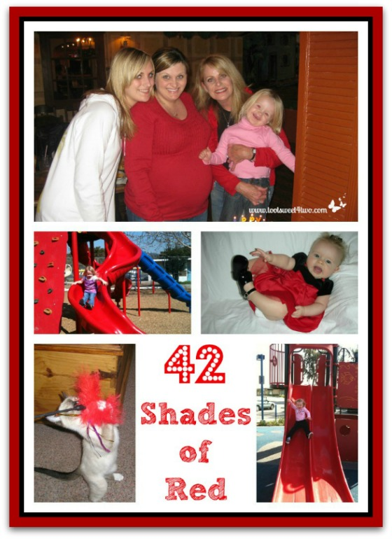 More red things - shirts, eyes, slides, dresses - 42 Shades of Red