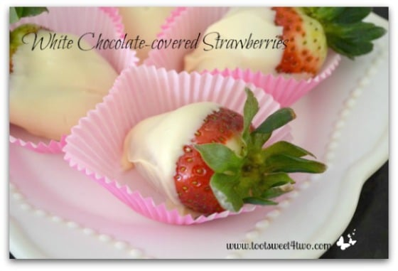 White Chocolate-covered Strawberries horizontal