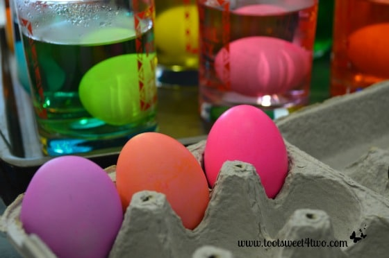 The first Easter eggs out of the dye bath!