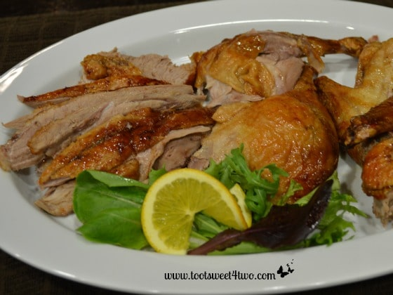 Carved roasted duck - ready to serve!