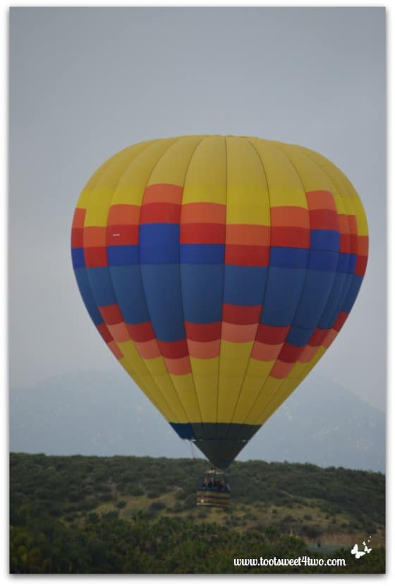 Blue-centered Hot Air Balloon ascending
