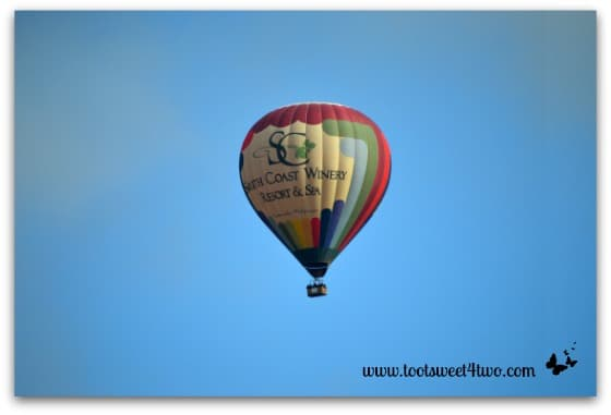 South Coast Winery Hot Air Balloon in the bright blue skies