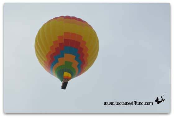 Yellow-centered Hot Air Balloon directly overhead