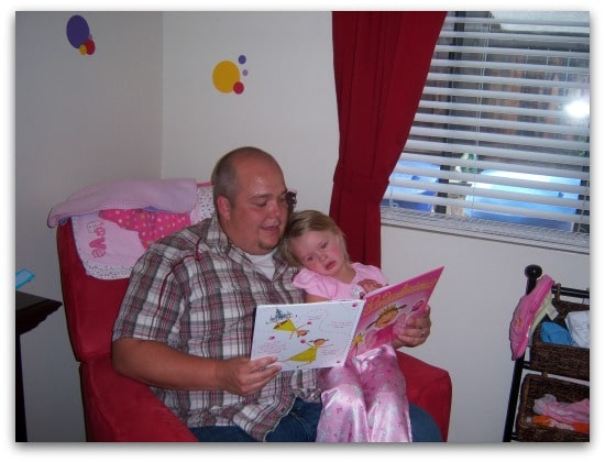 Chris reading to Princess P