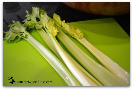Celery stalks for Tri-Colored Roasted Potato Salad