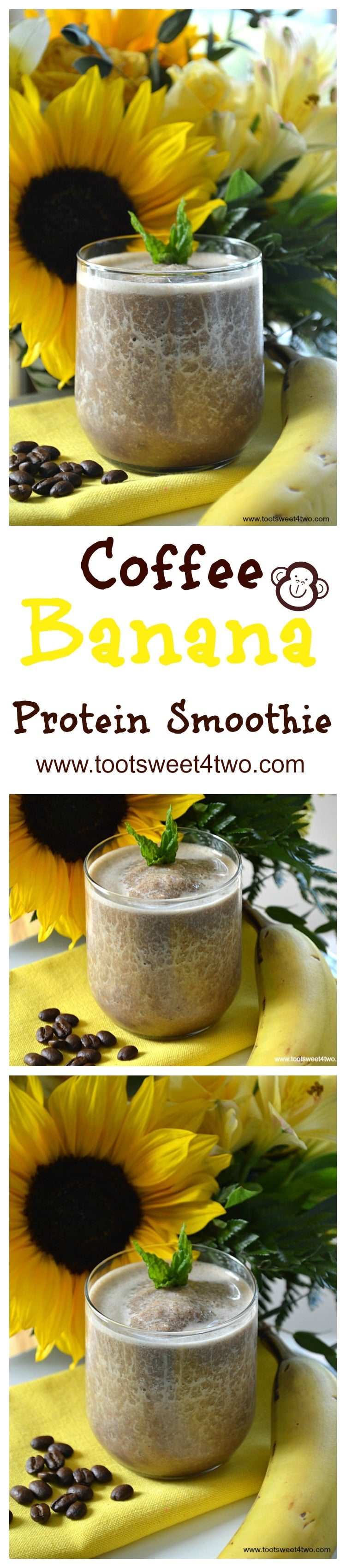 Coffee Banana Protein Smoothie - an easy, delicious and healthy way to start your morning. Coffee, whey protein powder and two more surprise ingredients supply the energy and a serving of fruit, a frozen banana, makes it the perfect blender breakfast. Whether you are watching calories for weight loss or just need a quick breakfast with extra protein, this recipe delivers. | www.tootsweet4two.com