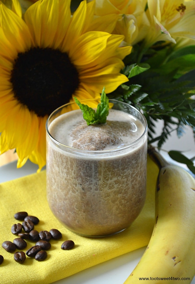 Coffee Banana Protein Smoothie with Mint garnish