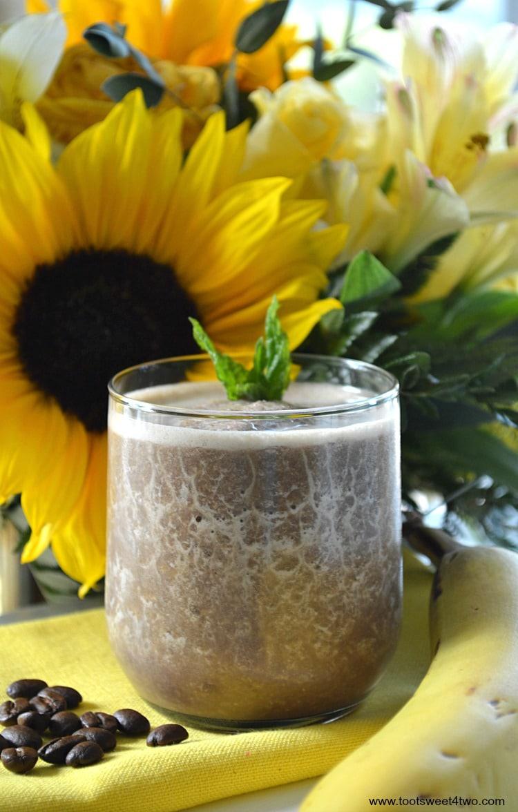 Coffee Banana Protein Smoothie - an easy, delicious and healthy way to start your morning! Coffee and whey protein powder supply the energy and a serving of fruit, a frozen banana, makes it the perfect blender breakfast. Whether you are watching calories for weight loss or just need a quick breakfast with extra protein, this recipe delivers! | www.tootsweet4two.com