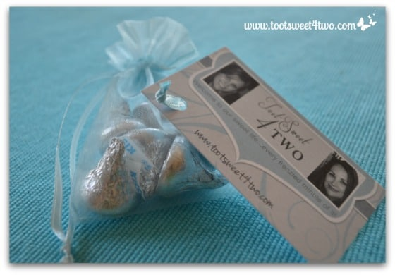 Easy Party Favors Featuring You - put one end of ribbon into punched hole of business card