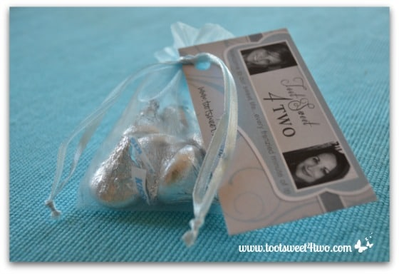 Easy Party Favors Featuring You - tie ribbon to secure business card to party favor bag