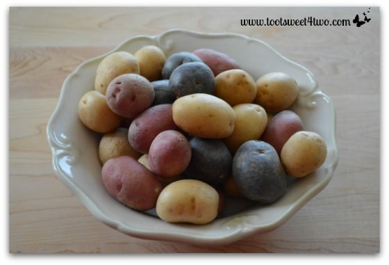 Tri-colored potatoes for Tri-Colored Roasted Potato Salad