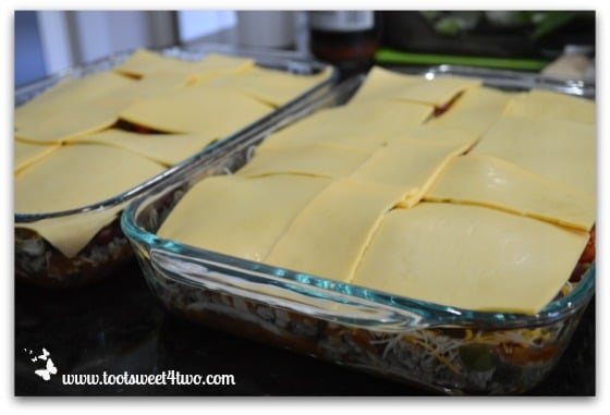 Add sliced American cheese - Charlie's Lite Layered Mexican Casserole