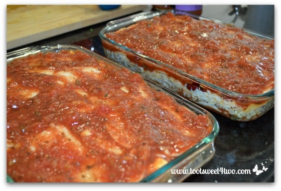 Add top layer of salsa - Charlie's Lite Layered Mexican Casserole