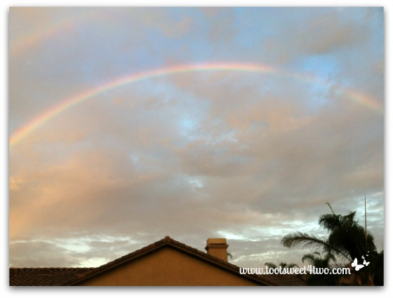 Center of rainbow over our house