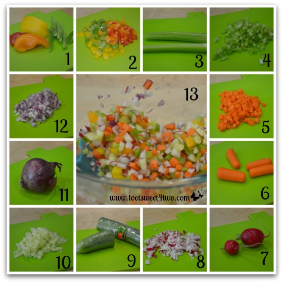 Prepare and chop the vegetables for Crunchy Tuna Salad