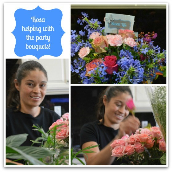 Rosa helping with the bouquets for Blog-o-versary Party