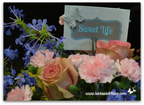 Sweet Life sign placed in a bouquet