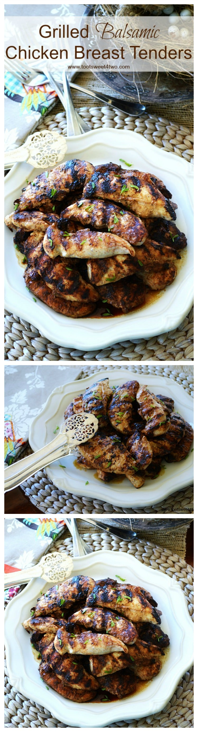 Grilled Balsamic Chicken Breast Tenders are so ridiculously easy to make and delicious! This super simple recipe is a quick and healthy alternative to a fast food dinner any night of the week. Make a batch and keep them in the refrigerator for an instant meal or an easy sandwich or add them to a salad. | www.tootsweet4two.com.
