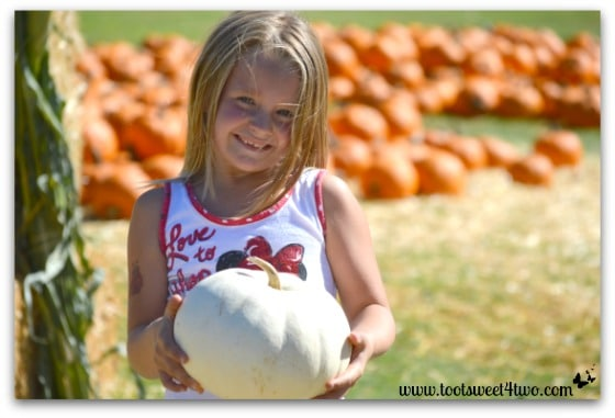 Princess P and a white pumpkin