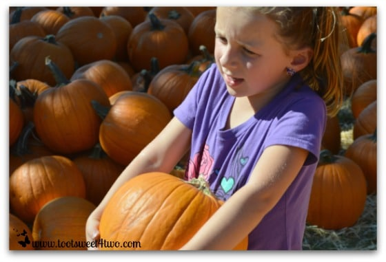 Princess Sweet Child hoists a pumpkin