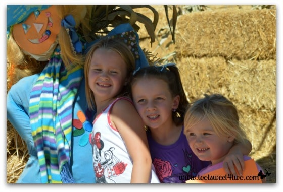 The girls with the Daisy Scarecrow at the Straw Maze