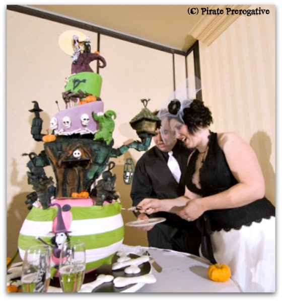 Cutting the Nightmare Before Christmas wedding cake