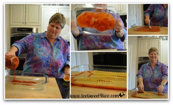 1st layers of Kathy's 16-Layer Lasagna