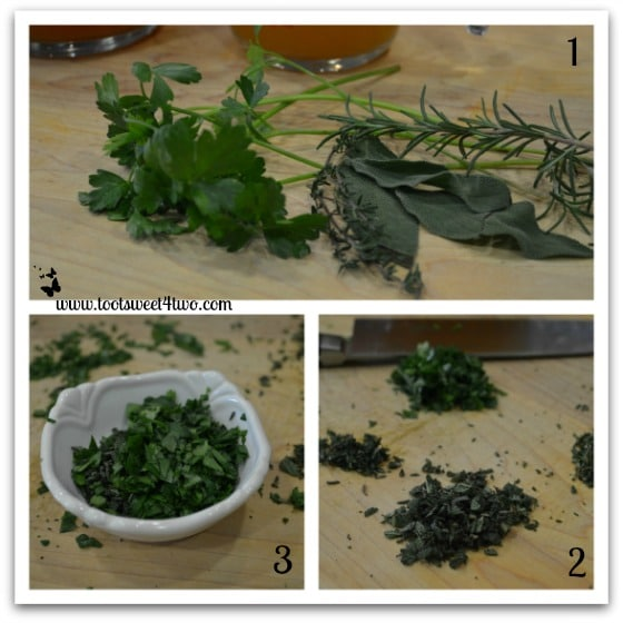 Chopping the herbs for Parsley, Sage, Rosemary and Thyme Turkey Gravy