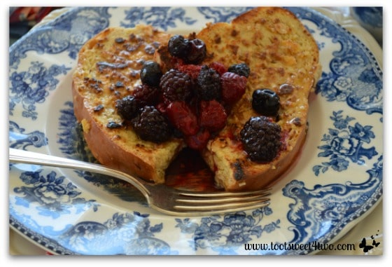 French Toast with Maple Pecan Clusters Crunch and berries