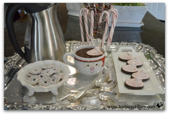 Hot Chocolate and Peppermint Peeps with Chocolate Rings with Sprinkles