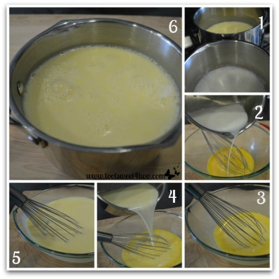 Making the custard for White Chocolate Bread Pudding